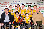 The Gaelscoil Aogain team that won at the St Marys basketball blitz in Castleisland on Wednesday front row l-r: Tomas O'Connor Principal, Patrick O'Shea, Eoin shire and Denny Porter coach. Back row: Killian Dennehy, Josh Evans, billy Walsh, Christopher Dillon, Finn Nolan and Jer brosnan