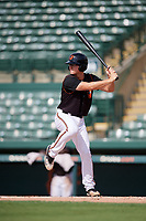 GCL Orioles third baseman Jared Gates (18) at bat during the first game of a doubleheader against the GCL Twins on August 1, 2018 at CenturyLink Sports Complex Fields in Fort Myers, Florida.  GCL Twins defeated GCL Orioles 7-6 in the completion of a suspended game originally started on July 31st, 2018.  (Mike Janes/Four Seam Images)