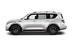 Car Driver side profile view of a 2017 Nissan Armada Platinum 5 Door SUV Side View