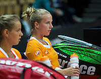 Arena Loire,  Trélazé,  France, 14 April, 2016, Semifinal FedCup, France-Netherlands, Dutch team warming up, Arantxa Rus and Richel Hogenkamp (R)<br /> Photo: Henk Koster/Tennisimages