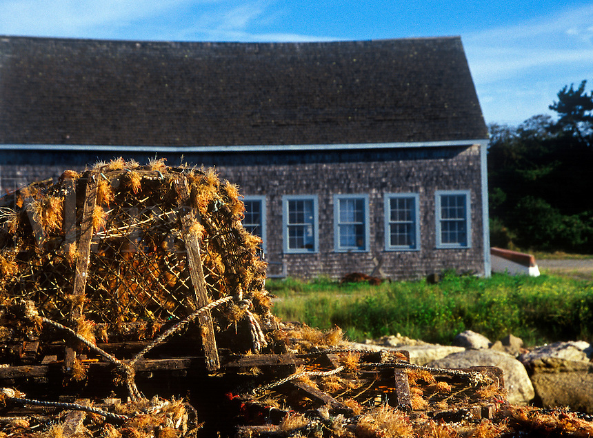 Boathouse and lobster traps, Chatham Harbor, Cape Cod, MA