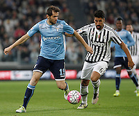 Calcio, Serie A: Juventus vs Lazio. Torino, Juventus Stadium, 20 aprile 2016.<br /> Lazio&rsquo;s Senad Lulic, left, is challenged by Juventus&rsquo; Sami Khedira during the Italian Serie A football match between Juventus and Lazio at Turin's Juventus Stadium, 20 April 2016.<br /> UPDATE IMAGES PRESS/Isabella Bonotto