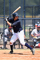 GCL Yankees 1 first baseman Dalton Smith (86) at bat during the first game of a doubleheader against the GCL Braves on July 1, 2014 at the Yankees Minor League Complex in Tampa, Florida.  GCL Yankees 1 defeated the GCL Braves 7-1.  (Mike Janes/Four Seam Images)