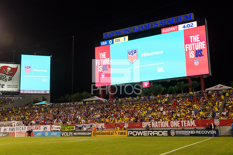 Tampa, FL - Thursday, October 11, 2018: Hisense scoreboard during a USMNT match against Colombia.  Colombia defeated the USMNT 4-2.