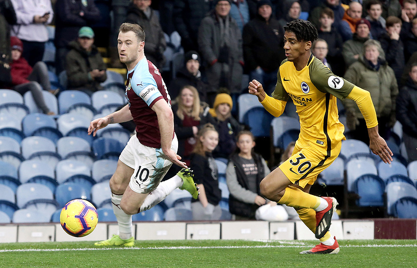 Burnley's Ashley Barnes vies for possession with  Brighton & Hove Albion's Bernardo<br /> <br /> Photographer Rich Linley/CameraSport<br /> <br /> The Premier League - Burnley v Brighton and Hove Albion - Saturday 8th December 2018 - Turf Moor - Burnley<br /> <br /> World Copyright © 2018 CameraSport. All rights reserved. 43 Linden Ave. Countesthorpe. Leicester. England. LE8 5PG - Tel: +44 (0) 116 277 4147 - admin@camerasport.com - www.camerasport.com