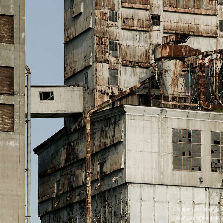 The exterior of an old abandoned factory in the Montreal docks area, Quebec, Canada.