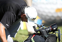 Adilson Da Silva (BRA) takes a look down the lens of the remote camera on the second tee during the practice day ahead of the Tshwane Open 2015 at the Pretoria Country Club, Waterkloof, Pretoria, South Africa. Picture:  David Lloyd / www.golffile.ie. 10/03/2015