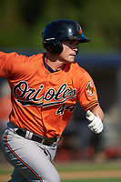 Baltimore Orioles second baseman Preston Palmeiro (44) runs to first base during an Instructional League game against the New York Yankees on September 23, 2017 at the Yankees Minor League Complex in Tampa, Florida.  (Mike Janes/Four Seam Images)