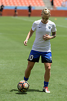 Houston, TX - Saturday May 27, 2017: Jess Fishlock warming up during a regular season National Women's Soccer League (NWSL) match between the Houston Dash and the Seattle Reign FC at BBVA Compass Stadium.