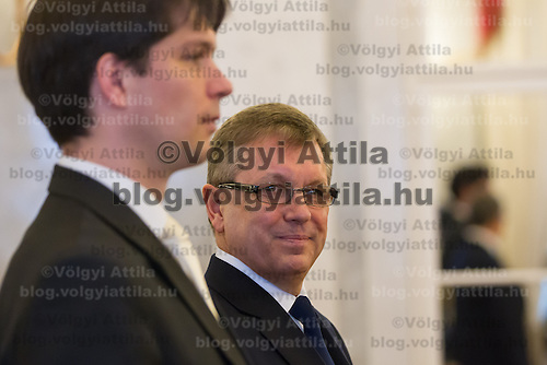 Hungary's newly minted central bank Governor Gyorgy Matolcsy (R) and his deputy Adam Balog (L), also newly appointed for the central bank before the swearing-in ceremony at the Presidential palace in Budapest, Hungary on March 06, 2013. ATTILA VOLGYI