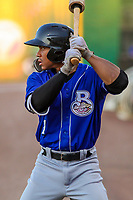 Biloxi Shuckers outfielder Corey Ray (1) waits on deck during a Southern League game against the Jackson Generals on July 27, 2018 at The Ballpark at Jackson in Jackson, Tennessee. Biloxi defeated Jackson 15-7. (Brad Krause/Four Seam Images)