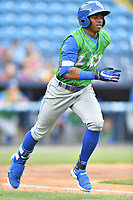 Lexington Legends center fielder Khalil Lee (9) runs to first base during a game against the Asheville Tourists at McCormick Field on May 29, 2017 in , North Carolina. The Legends defeated the Tourists 6-2. (Tony Farlow/Four Seam Images)
