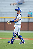Burlington Royals catcher Michael Arroyo (11) gives defensive signals during the game against the Bluefield Blue Jays at Burlington Athletic Stadium on June 27, 2016 in Burlington, North Carolina.  The Royals defeated the Blue Jays 9-4.  (Brian Westerholt/Four Seam Images)
