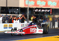 Jul. 25, 2014; Sonoma, CA, USA; NHRA top fuel driver Steve Torrence during qualifying for the Sonoma Nationals at Sonoma Raceway. Mandatory Credit: Mark J. Rebilas-