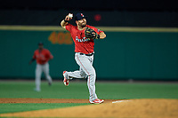Pawtucket Red Sox shortstop Chad De La Guerra (23) throws to first base during an International League game against the Rochester Red Wings on June 28, 2019 at Frontier Field in Rochester, New York.  Pawtucket defeated Rochester 8-5.  (Mike Janes/Four Seam Images)