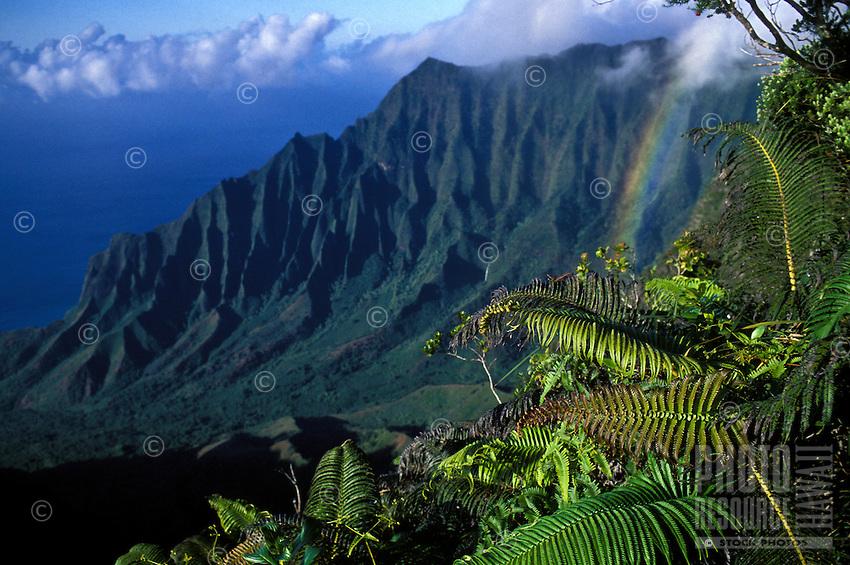 Kalalau mountain range with evening rainbow