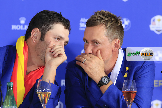 Jon Rahm and Ian Poulter (Team Europe) at the press conference after Europe win the Ryder Cup 17.5 to 10.5 at the end of Sunday's Singles Matches at the 2018 Ryder Cup 2018, Le Golf National, Ile-de-France, France. 30/09/2018.<br /> Picture Eoin Clarke / Golffile.ie<br /> <br /> All photo usage must carry mandatory copyright credit (© Golffile | Eoin Clarke)