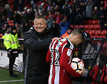 Chris Wilder manager of Sheffield Utd greets Harry Chapman of Sheffield Utd during the Emirates FA Cup Round One match at Bramall Lane Stadium, Sheffield. Picture date: November 6th, 2016. Pic Simon Bellis/Sportimage