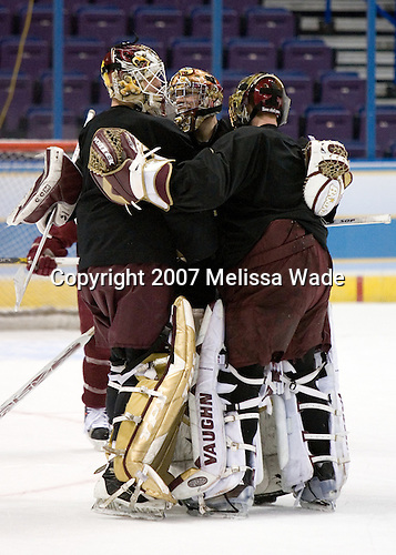 Joe Pearce (Boston College - Brick, NJ), Adam Reasoner (Boston College - Honeoye Falls, NY) and Cory Schneider (Boston College - Marblehead, MA) take part in the Eagles' Wednesday practice on April 4, 2007 at the Scottrade Center in St. Louis, Missouri, prior to their Thursday 2007 Frozen Four Semi-Final.