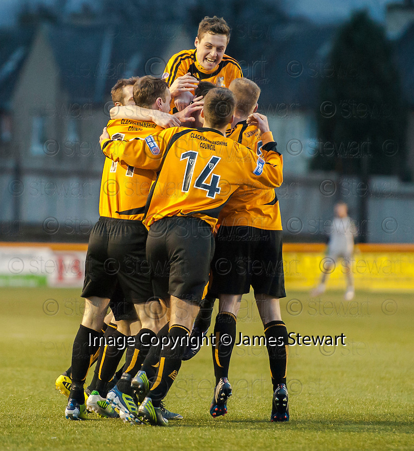 Alloa's Ben Gordon is mobbed by team mates after he scores Alloa's late equaliser.