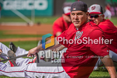 22 May 2015: Washington Nationals catcher Wilson Ramos takes stretching exercises prior to a game against the Philadelphia Phillies at Nationals Park in Washington, DC. The Nationals defeated the Phillies 2-1 in the first game of their 3-game weekend series. Mandatory Credit: Ed Wolfstein Photo *** RAW (NEF) Image File Available ***