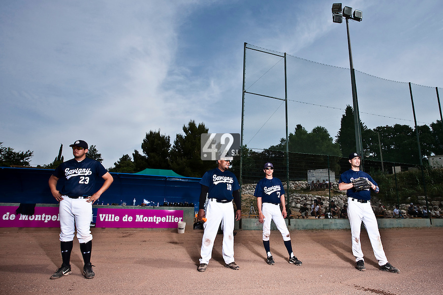 23 May 2009: Steven Huff, Carlos Jiminian, Christophe Goniot, Jerome Rousseau, of Team Savigny, are seen prior to a game against Senart during the 2009 challenge de France, a tournament with the best French baseball teams - all eight elite league clubs - to determine a spot in the European Cup next year, at Montpellier, France. Savigny wins 4-1 over Senart.