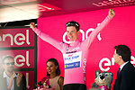 Bob Jungels (LUX) Quick-Step Floors takes over the race leaders Maglia Rosa at the end of Stage 4 of the 100th edition of the Giro d'Italia 2017, running 181km from Cefalu to Mount Etna, Sicily, Italy. 9th May 2017.<br /> Picture: LaPresse/Massimo Paolone | Cyclefile<br /> <br /> <br /> All photos usage must carry mandatory copyright credit (&copy; Cyclefile | LaPresse/Massimo Paolone)