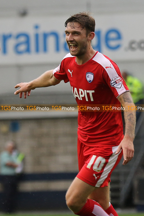 Jay O'Shea celebrates scoring his and Chesterfield's second goal during Millwall vs Chesterfield, Sky Bet League 1 Football at The Den, London, England on 29/08/2015