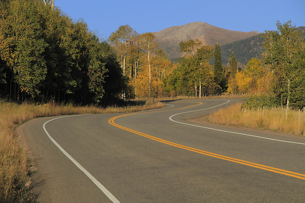 McClure Pass Road, Highway 133, with autumn aspen trees, near Glenwood Springs, Colorado, USA John offers autumn photo tours throughout Colorado.