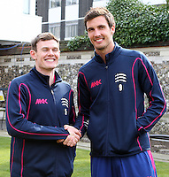 The Middlesex England players James Harris and Steven Finnn - Middlesex County Cricket Club Press Day at Lords Cricket Ground, London - 08/04/13 - MANDATORY CREDIT: Rob Newell/TGSPHOTO - Self billing applies where appropriate - 0845 094 6026 - contact@tgsphoto.co.uk - NO UNPAID USE.