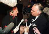 "Robin Williams, left, congratulates Jonathan Winters, right, who was awarded the ""Mark Twain Prize"" at the John F. Kennedy Center for the Performing Arts in Washington, D.C.  on October 20, 1999.  Winters passed away on April 11, 2013 at age 87..Credit: Ron Sachs / CNP"