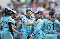 England celebrate the wicket of David  Warner during Australia vs England, ICC World Cup Semi-Final Cricket at Edgbaston Stadium on 11th July 2019