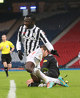 Esmael Goncalves beaten by Adam Matthews in the St Mirren v Celtic Scottish Communities League Cup Semi Final match played at Hampden Park, Glasgow on 27.1.13.