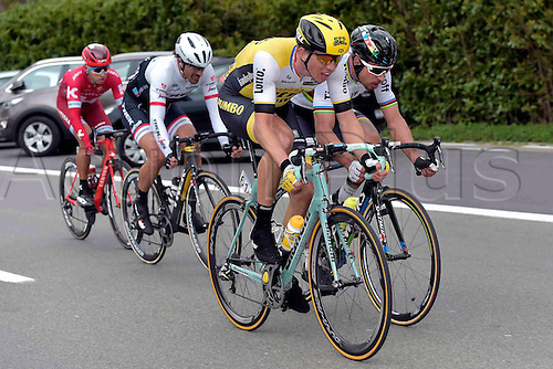 27.03.2016. Deinze, Belgium.  SAGAN Peter (SVK) Rider of TINKOFF, CANCELLARA Fabian (SUI) Rider of TREK - SEGAFREDO, VANMARCKE Sep (BEL) Rider of TEAM LOTTO NL - JUMBO and KUZNETSOV Viacheslav (RUS) Rider of TEAM KATUSHA in action during the Flanders Classics UCI World Tour 78nd Gent-Wevelgem cycling race with start in Deinze and finish in Wevelgem