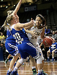 SIOUX FALLS MARCH 23:  Sierra Afoa #24 of Alaska Anchorage tries to make a pass around Janae Langs #20 from Grand Valley State during their Women's 2016 Elite 8 Division II Basketball Championship semifinal game at the Sanford Pentagon in Sioux Falls, S.D. (Photo by Dave Eggen/Inertia)