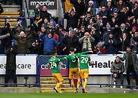 Preston North End's Alan Browne celebrates scoring his side's first goal in front of their travelling supporters<br /> <br /> Photographer Andrew Kearns/CameraSport<br /> <br /> The EFL Sky Bet Championship - Bolton Wanderers v Preston North End - Saturday 9th February 2019 - University of Bolton Stadium - Bolton<br /> <br /> World Copyright © 2019 CameraSport. All rights reserved. 43 Linden Ave. Countesthorpe. Leicester. England. LE8 5PG - Tel: +44 (0) 116 277 4147 - admin@camerasport.com - www.camerasport.com