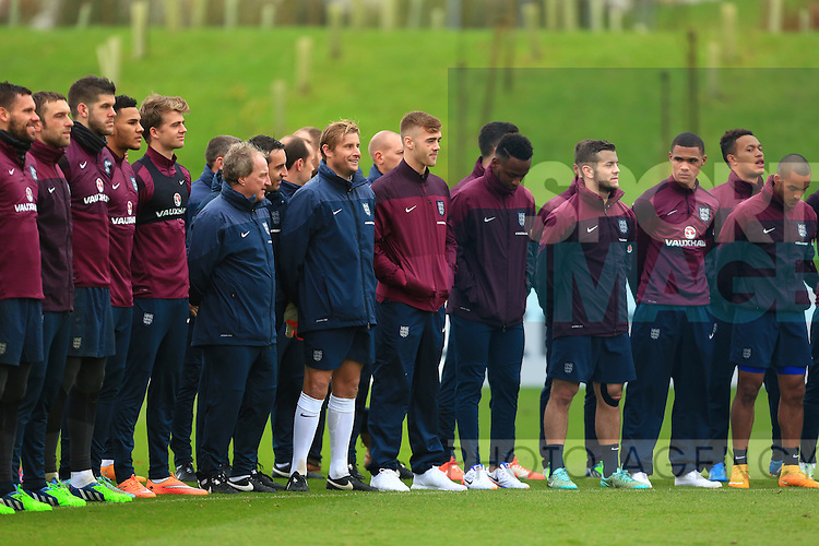 Saido Berahino of England during the two minutes silence - England Training & Press Conference - UEFA Euro 2016 Qualifying - St George's Park - Burton-upon-Trent - 11/11/2014 Pic Philip Oldham/Sportimage