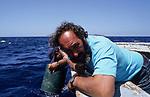 ITALY, Sicily, Egedian island Favignana, La Mattanza, traditional fishing of bluefin Tuna fish, rais (chief) Gioacchino Cataldo watching for the tuna