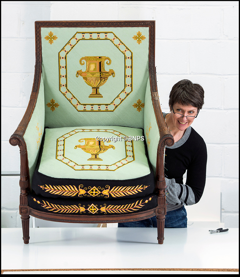 BNPS.co.uk (01202 558833)<br /> Pic: PhilYeomans/BNPS<br /> <br /> Conservator Emma Telford with a restored chair.<br /> <br /> Seat of Power - The First Duke of Marlborough's campaign chairs, upon which he sat to plot the downfall of the French King Louis XIV, are returning to Blenheim Palace following an 18-month restoration.<br /><br />The chairs would have been carted across Europe as part of the Duke's baggage train to allow him a comfortable seat in which to plan his stunningly successful campaign against the mighty French monarch.<br /><br />Textile conservator Emma Telford, who is based in Herefordshire, had to turn detective to re-discover the ornate 18th century chairs' original decoration and recruit a team of embroiders to help bring them back to life.<br /><br />In total Emma and her volunteer helpers used a staggering 10,000 metres of French silk to re-embroider the chairs with the original designs.