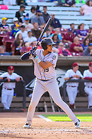 Kane County Cougars third baseman Ramon Hernandez (19) at the plate during game one of a Midwest League doubleheader against the Wisconsin Timber Rattlers on June 23, 2017 at Fox Cities Stadium in Appleton, Wisconsin.  Kane County defeated Wisconsin 4-3. (Brad Krause/Four Seam Images)