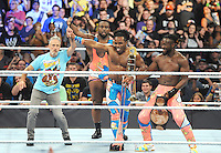 """NEW YORK, NY - August 21 : Jon Stewart was a special guest at WWE SummerSlam 2016 at the Barclays Center and joined """"New Day"""" members Kofi Kingston, Big E and Xavier Woods in the ring on August 21 , 2016 at the Barclays Center in Brooklyn, New York.  Photo Credit: John Palmer/ MediaPunch"""