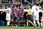 Real Madrid CF's Sergio Reguilon argues with FC Barcelona's Luis Suarez during La Liga match. March 02,2019. (ALTERPHOTOS/Alconada)