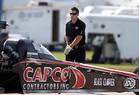 Apr. 28, 2013; Baytown, TX, USA: NHRA crew member for top fuel dragster driver Steve Torrence during the Spring Nationals at Royal Purple Raceway. Mandatory Credit: Mark J. Rebilas-