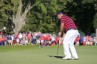 Patrick Reed (Team USA) on the 11th green during Saturday afternoon Fourball at the Ryder Cup, Hazeltine National Golf Club, Chaska, Minnesota, USA.  01/10/2016<br /> Picture: Golffile | Fran Caffrey<br /> <br /> <br /> All photo usage must carry mandatory copyright credit (&copy; Golffile | Fran Caffrey)