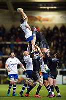 Paul Grant of Bath Rugby wins the ball at a lineout. Aviva Premiership match, between Newcastle Falcons and Bath Rugby on February 16, 2018 at Kingston Park in Newcastle upon Tyne, England. Photo by: Patrick Khachfe / Onside Images