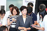 New Tokyo Governor Yuriko Koike speaks to media after meeting with Yoshiro Mori, head of the 2020 Tokyo Olympics organising committee in Tokyo, Japan on August 9, 2016. The two agreed that they will work closely to deliver a successful Tokyo Olympics and Paralympics in 2020. (Photo by AFLO SPORT)