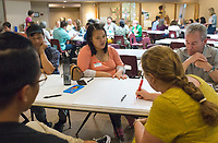 NWA Democrat-Gazette/CHARLIE KAIJO Jenjira Htoo of Springdale shares her point of view on how Korean-Americans are affected by a lack of housing in Springdale during a community meeting, Thursday, June 7, 2018 at the Shiloh Museum in Springdale. <br /><br />The University of Arkansas College of Business, Northwest Arkansas Regional Planning Commission, Walton Family Foundation and a nonprofit called Enterprise Community Partners are taking stock of the housing and housing affordability situation in this area. They&acirc;&euro;&trade;ll be putting together a regional plan to try to make sure there&acirc;&euro;&trade;s enough housing affordable to everyone in the coming years. They held public forums in the big four cities to get residents&acirc;&euro;&trade; thoughts on where housing is lacking and what the regional plan will need to keep in mind.