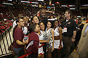 Irdis Elba makes a surprise appearance at the Toyota SWAC 2014 Championship Game and poses with some cheerleaders