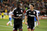 Washington D.C. - May 17, 2014: Eddie Johnson (7) of D.C. United celebrates his score with teammate Lewis Neal (24)  D.C. United tied the Montreal Impact 1-1 during a Major League Soccer match for the 2014 season at RFK Stadium.
