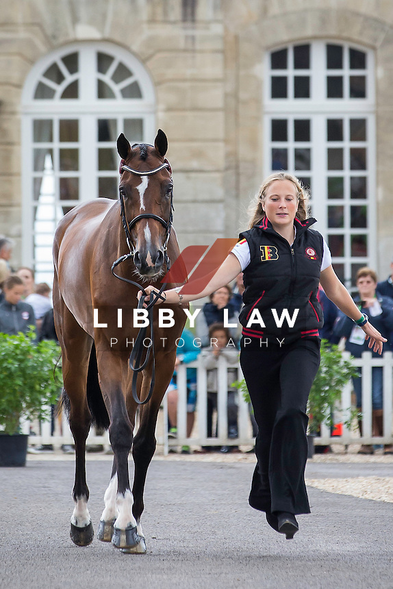 BEL-Lara De Leidekerke (DUCATI VAN DEN OVERDAM) FIRST HORSE INSPECTION: EVENTING: The Alltech FEI World Equestrian Games 2014 In Normandy - France (Wednesday 27 August) CREDIT: Libby Law COPYRIGHT: LIBBY LAW PHOTOGRAPHY - NZL